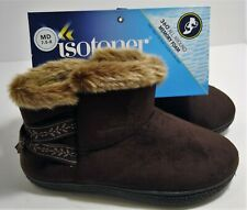 ISOTONER Womens Bootie Slippers Size Medium 7.5-8 Faux Fur Ribbon 360 Foam NWT