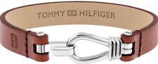 Clasp Bracelet Mens Brown Gift Sale! Tommy Hilfiger 2019 Embossed Leather Hook