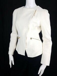 Ted Baker Size 2 (12) Cream Jacket Cotton Rich Biker Asymmetric Zip Up