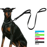 Nylon Large Dog Lead Leads Reflective Leash with 2 Handles Soft Mesh Padded Blue