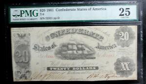 T-9 CONFEDERATE STATES OF AMERICA $20 1861 PMG 25 CHOICE VERY  FINE SUPER NICE