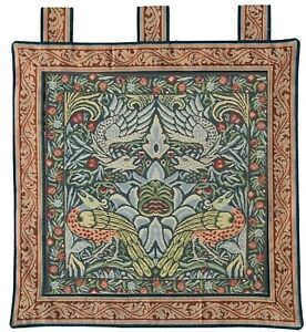 Woven Tapestry Wall hanging - Peacock & Dragon [blue] - 60x65 cm approx.