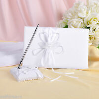 GB05b New White Butterfly Bow Wedding Ceremony Satin Guest Book & Pen Set
