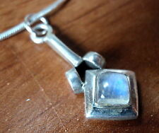 New Rainbow Moonstone Cube 925 Sterling Silver Necklace