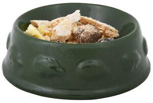 Green Ceramic Food Bowl Outdoor Garden Hedgehog Feeding Dish with Drainage Hole