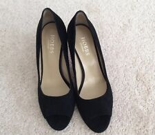 Ladies Hobbs Suede Leather Peep Toe Stiletto Shoes - Black - UK5