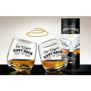 Wackelglas DER KLÜGERE KIPPT NACH Geschenk für Whiskyliebhaber Wisky Gläser