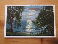 Vintage 1936 Postcard Moonlight on Lake Erie, Geneva-on-Lake Ohio Linen Teich