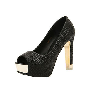 Fashion Women's Peep Toe Platform Pumps Slim High Heels Party Shoes Slip on