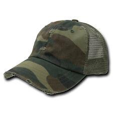 Vintage Snapback Distressed Mesh Trucker Baseball Cap Caps Hat Camo Camouflage
