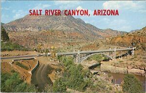 Vintage chrome postcard, the highway bridge over salt river canyon, Arizona