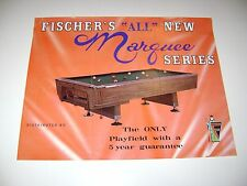 Fischer Marquee Pool Table Arcade Original sales flyer brochure