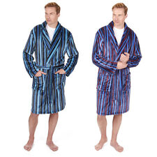Pierre Roche Mens Supersoft Fleece Striped Dressing Gown