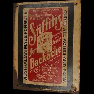 Vintage Original Australian Stiffitis For Backache Small Tin Advertising Sign
