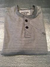 ABERCROMBIE & FITCH Mens Muscle Polo Golf Shirt Gray Stripe Size M