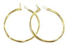 2.75 inch HOOP EARRINGS SOLID HOOP EARRINGS GOLD TONE HOOP EARRINGS TEXTURED