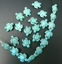 """16"""" Lt Blue Turquoise turtle beads baby tortoise reconstituted Howlite bs001c"""