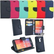 Housse etui coque pochette portefeuille pour LG Spirit 4G LTE + verre trempe