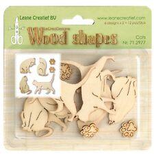 Leane Creatief Wooden Shapes Ornaments -  CATS 12pcs 71.2977 Wood