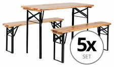 5x Set Birreria Tavolo e Panche Richiudibile Giardino Balcone in Legno Esterno