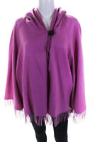 Jennifer Tyler Knit Couture Womens Cashmere Hooded Fringe Jacket Pink Size Mediu