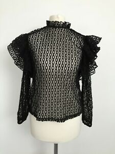 RIVER ISLAND TOP SIZE 8 PETITE HIGH NECK MESH LACE NET SEMI SHEER PUNK GOTHIC