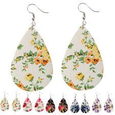 DI- Trendy Women Floral Pattern Teardrop Dangle Faux Leather Hook Earrings Jewel