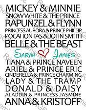 ❤️Personalised Disney Couples Valentines Lesbian Gay Wedding Gift Word Art❤️