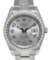 Rolex Datejust II Steel Silver/Purple Dial & Diamond Bezel 41mm Watch Box 116334