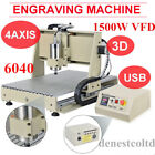USB 4-Axis 6040 CNC Router Milling Drilling Machinne w/ Remote Controller 1.5KW