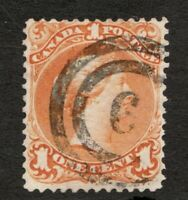 #23  Canada - 1869 -  1 Cent - Used  - F/VF light crease - superfleas  cv $100