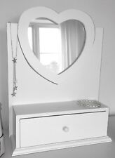 Very Pretty Heart shaped White ADJUSTABLE DRESSING TABLE MIRROR shabby / chic