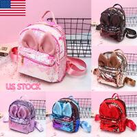 Kids Girls School Backpack Glitter Sequins Travel Shoulder Bag Rucksack Handbag
