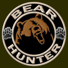 "BEAR HUNTER EMBROIDERED PATCH ~3"" BORDADO PARCHE AUFNÄHER GRIZZLY OUTDOOR BROWN"