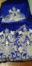 Nigerian Tradional Wedding VIP Hand stoned and beaded Silk George Wrapper. Royal