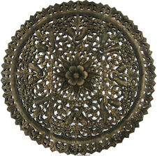 """Round Wood Carved Wall Art Panels. Large Asian Wood Wall Decor. Black Wash, 36"""""""
