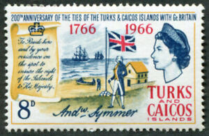 TURKS AND CAICOS ISLANDS 1966 8d SG269 MH FG Ties with Britain Bicentenary ##A03