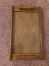 Vintage Handmade Wooden Serving Tray Wood Handles Glass Inlay Excellent Quality