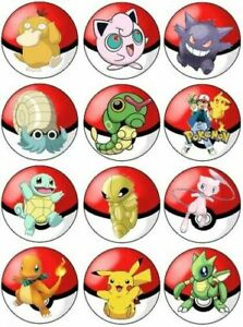24 pokemon  Fairy Cup Cake Toppers Edible Party Decorations pre cut
