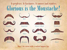 Glorious is the Moustache! Tash Collection Old Barber Shop, Large Metal/Tin Sign
