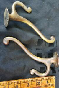 Vintage Pair of Solid Brass Clothing Hooks/Hat Hooks Bathroom Hooks