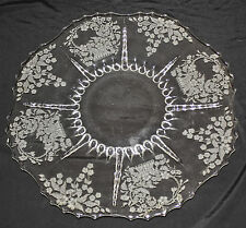 "Crystal 14"" TORTE PLATE w/ MEADOW WREATH ETCH in Radiance by New Martinsville"