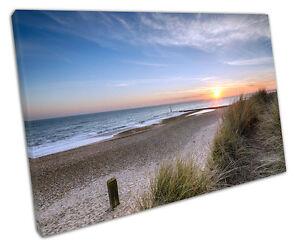Print on Canvas Beautiful sunset Hengistbury Head beach Bournemouth 30x20 Inch