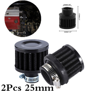 2Pcs Universal 25mm Car Conical Round Cold Air Oil Crank Case Breather Filter