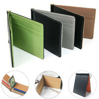 Slim Thin Mens Faux Leather Wallet Money Clip Credit Card ID Holder Pocket