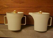 Tupperware Creamer and Sugar Jugs Push n Seal Tops Harvest Gold Cream 1970s Vtg