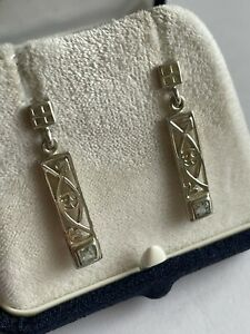 Vintage 925 Silver & Blue Topaz Mackintosh Style Celtic Drop Dangle Earrings
