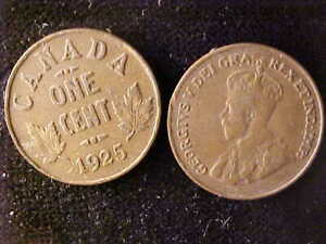 CANADA ONE CENT 1922 + 1925 PAIR