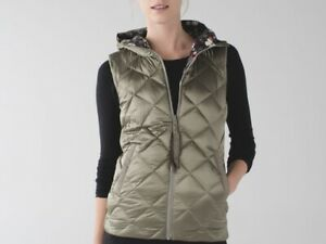 EUC Lululemon The Fluffiest Reversible Vest Hoodie Butterfly Soft Earth Down 10