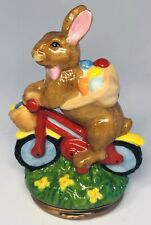 Halcyon Days English Enamels 2004 Easter Bunny on Bicycle Figural Trinket Box